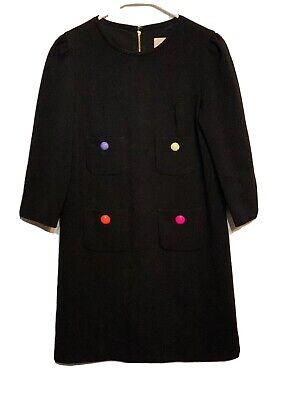 Kate Spade Women's Black Dress size 4 Color buttons Pockets 3/4 sleeve