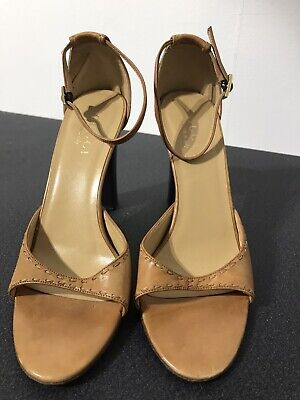 Vintage GUCCI Tan Leather Heeled Sandals UK 5 Open Toe.