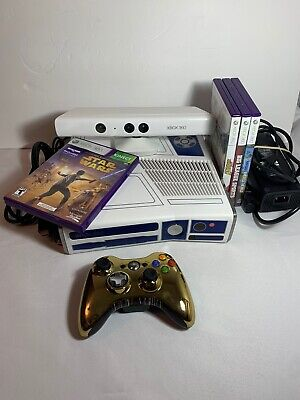 XBOX 360 S CONSOLE MODEL 1439 320GB R2D2 STAR WARS EDITION TESTED 3 Kinect Games