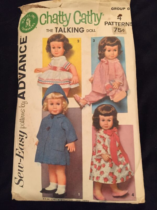 "ADVANCE VINTAGE 1962 DOLL CLOTHES SEWING PATTERN for 20"" CHATTY CATHY WARDROBE"