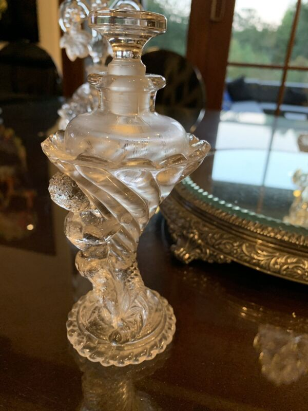 Rare Angel antique ART DECO Cut Crystal Glass perfume bottle