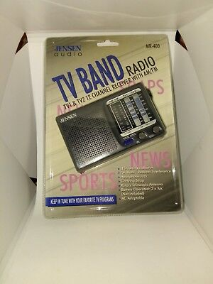 Jensen Audio TV Band Radio TV1 and TV2 12 Channel Receiver With AM/FM MR-400