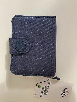 NWT Kipling New Money Wallet Navy Blue Twist/silver