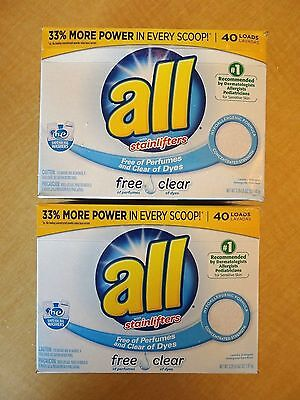 ALL Stainlifters HE Free & Clear 40 loads per box- 2 boxes of Laundry Detergent Free & Clear Laundry