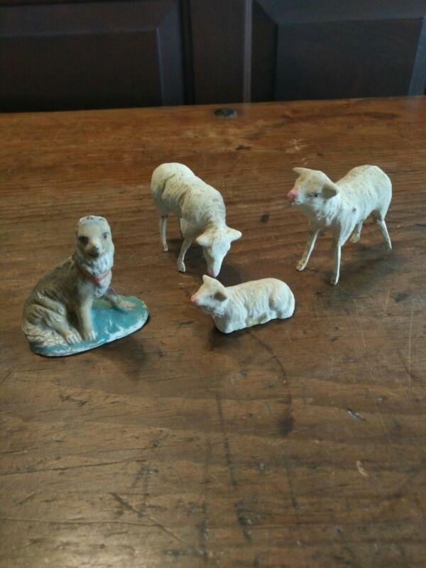 ANTIQUE 3 SHEEP and one dog Putz Composition Stick Leg GRAZING Farm Animal