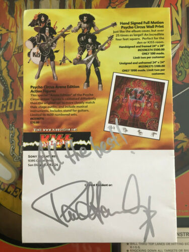PAUL AUTOGRAPHED SIGNED ADD FOR PSYCHO CIRCUS MERCHANDISE TOYS TOUR GENE