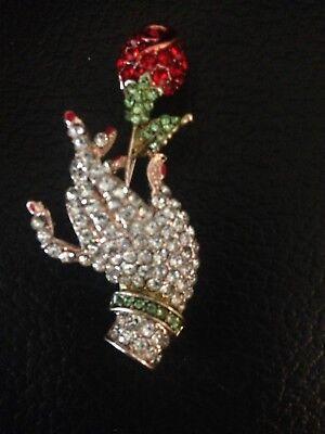 VINTAGE ART DECO  DIAMANTE 40S STYLE GOLD TONE HAND ROSE  BROOCH