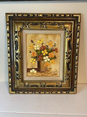 Vintage Ann Pine Painting 3D Art Eggshell Oil Mixed Media Flower Vase Framed