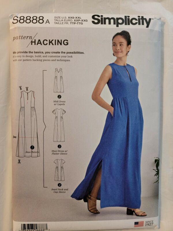 S8888 Simplicity Sewing Pattern Dress 4 Design Options Sizes XXS-XXL