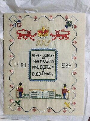 Silver Jubilee Of King George V & Queen Mary Needlework Sampler