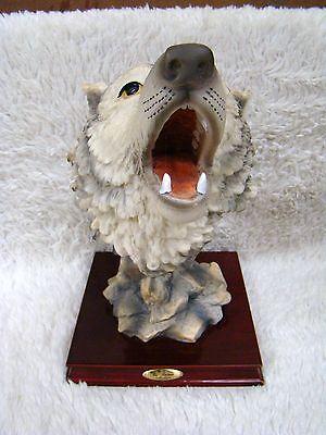 La Anina Collection Beautiful Wolf Polyresin Figurine, Glossy Wood Base, China
