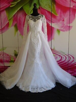 Elegant Bridal Gown Overskirt Jewel Neck Sheer Long Sleeves Pearls Embroidery 6