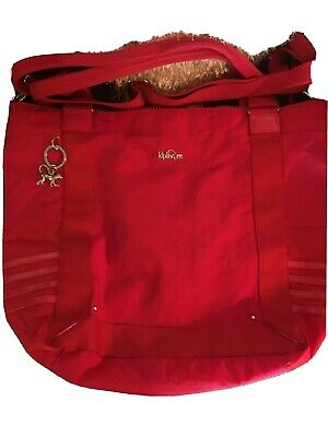 Kipling Pink/ Red Trim Shopper/ Travel Bag