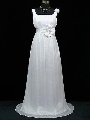Cherlone Plus Size Chiffon White Ballgown Formal Wedding/Evening Dress UK 12-14