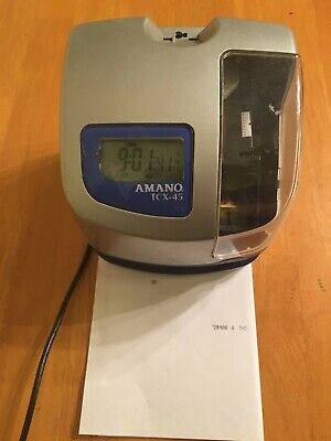 Time Punch Clock Amano Tcx-45 With Power Cord Working With No Key