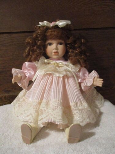 """Dan Dee Collectors Porcelain Doll 11"""" Limited Edition- Pink dress Sitting"""