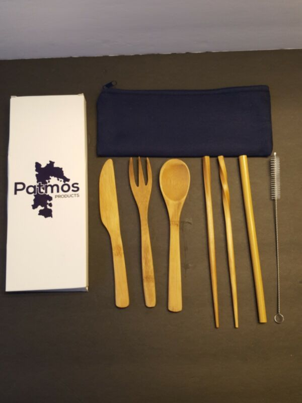 Bamboo Travel Utensils To-Go Ware Utensil Carrying Case Patmos Products -Camping