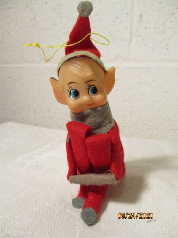 VINTAGE RED FELT KNEE HUGGING CHRISTMAS TREE ELF