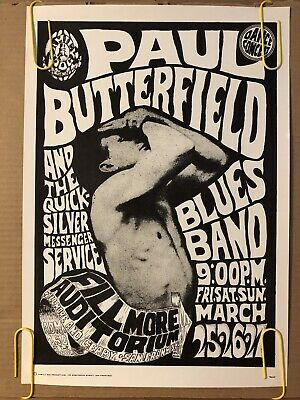 Vintage Poster Paul Butterfield Blues Band Family Dog Fillmore Auditorium PRINT (Paul Butterfield Blues Band Poster)