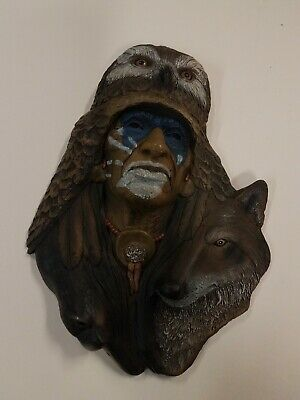 Indian Head Resin Wall Plaque - Medicine Man - Neil Rose