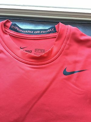 Nike Pro Combat Hyperwarm MAX Fitted LS Shirt Red/Black 479923 652 $60 Men's L