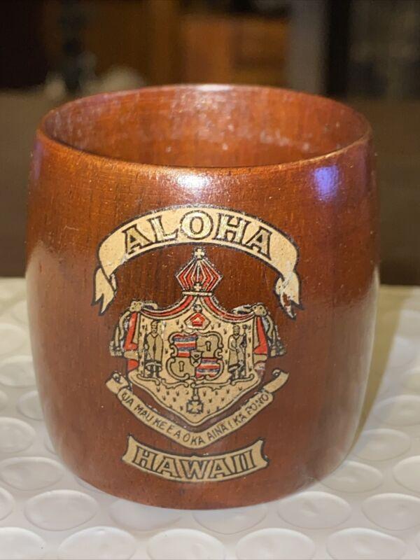 VINTAGE HAWAIIAN KOA WOOD NAPKIN HOLDER HAWAII COAT OF ARMS #2