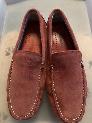Hush Puppies Monaco Slip On Loafers Rust Red Suede Driving Shoes UK Size 6