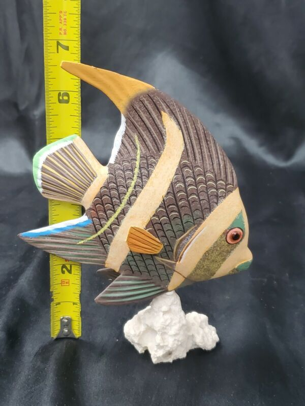 VERY NICE VERY COLORFUL HAND CARVED AND PAINTED WOODEN FISH SCULPTURE