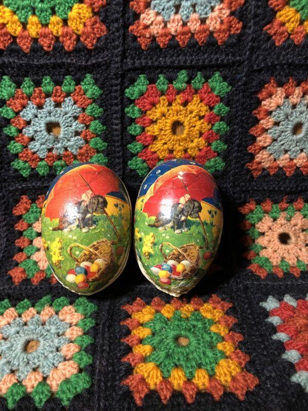 Pair Vintage Germany Paper Mache Easter Eggs Dog Print