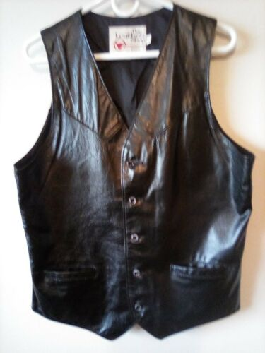Vintage Leather Vest 1970s Sears Biker Cowboy Mod Men 42T Black Pockets