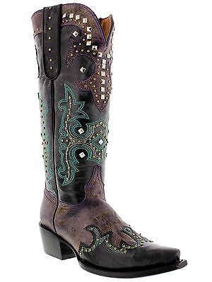 Turquoise Tall Shoes - Women's Distressed Leather Tall Cowgirl Western Boots Snip Toe Purple Turquoise