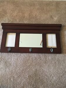 Hall Coat Rack, with Mirror and 2 picture frames