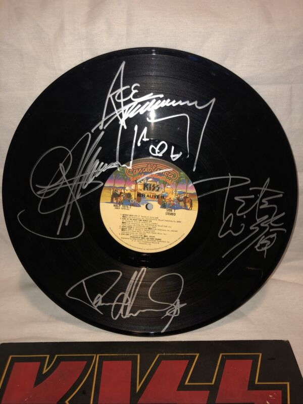 Full Band Kiss Alive 2 Record Signed Hand Vinyl LP Rare Paul Criss Ace Simmons