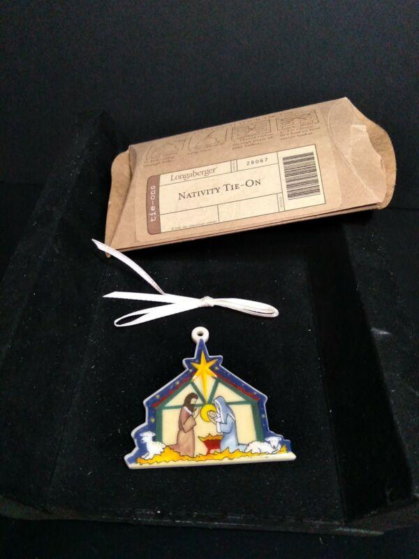 Longaberger Rare Holiday Ceramic  NATIVITY Tie-On  - pretty - NEW - Christmas