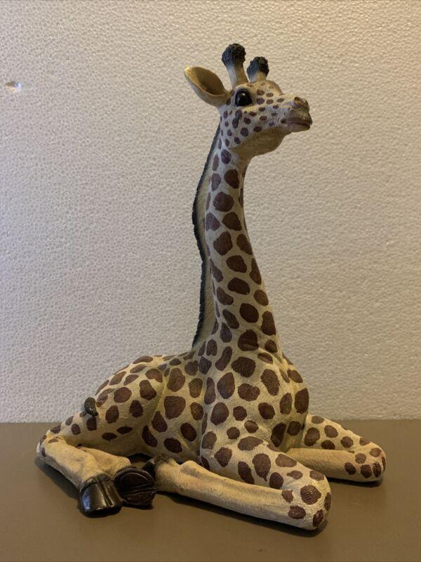 """13"""" Laying Giraffe Figurine Resin"""