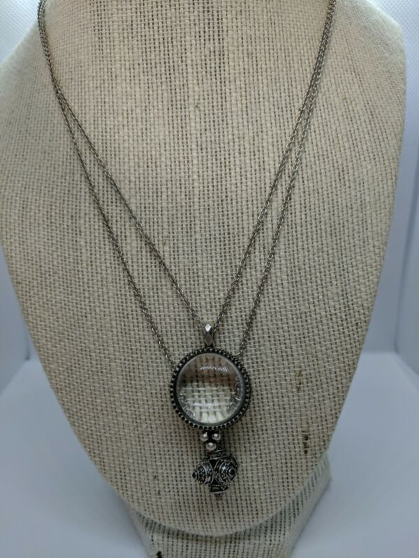 LUCKY BRAND Silvertone Magnified Bubble Glass / Pendant double Strand Necklace