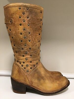- Bed Stu Cobbler Series Star Studded Leather Cowboy Riding Boots Women's Size 9.5