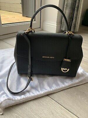 Michael Kors Ava Medium Leather Satchel Black