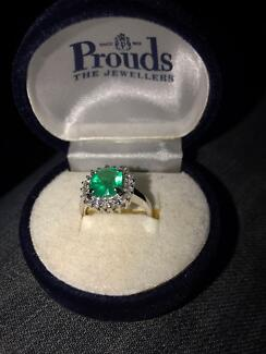 18ct White Gold Emerald and Diamond Ring with CERTIFIED VALUATION