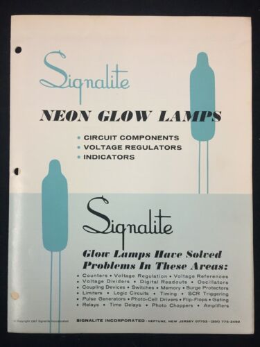 1967 SIGNALITE INC. NEON GLOW LAMPS CATALOG, CIRCUIT COMPONENTS, INDICATORS, +