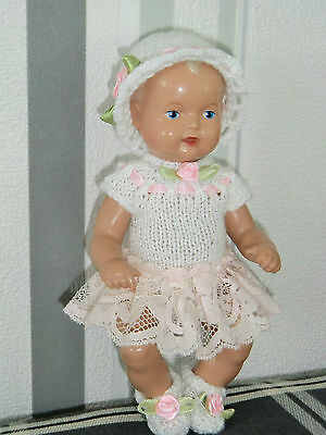 3-tlg Set Outfit Body - Rock  Mütze  Schuhe SK Strampelchen  Puppen 15-16 cm