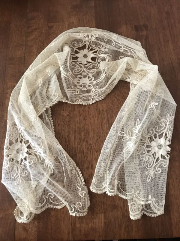 """Stunning Antique Ivory Embroidered Tambour Net Lace Runner 50""""x 12"""""""