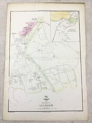 Antique Map of India Lucknow Royal Palace Plan Old Hand Coloured 19th Century