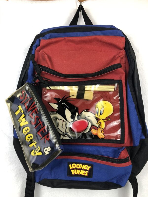 Looney Tunes Sylvester And Tweety Backpack Red/Blue Vintage 1999 New W/ Tag Rare