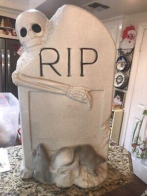Vintage Halloween Blow Mold Skeleton Rats Tombstone RIP