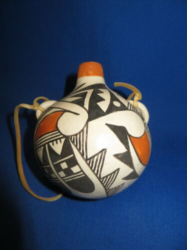 ACOMA Pueblo Pottery Canteen with Leather Handle Water Jar Joyce Leno