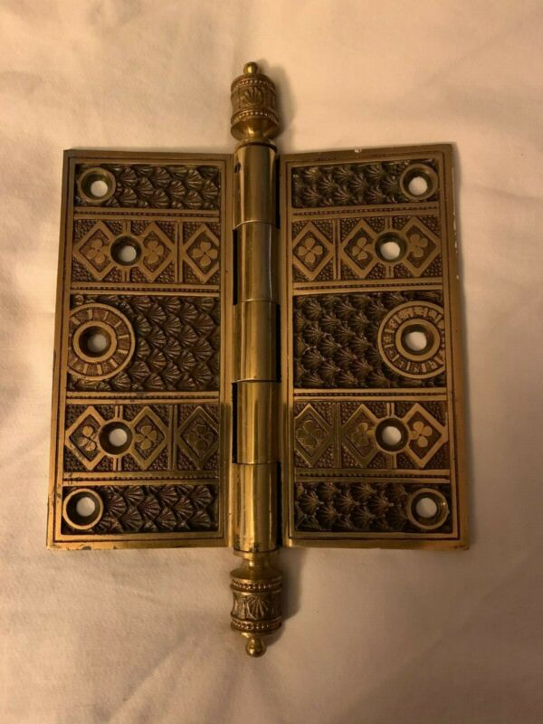 Set of three reproduction Eastlake 5 by 5 inch hinges ornate beautiful