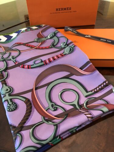 HERMES Panoplie Equestre Silk Twill Scarf Carre 90 cm Authentic