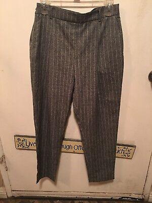 - Theory Womens Pants Size L Gray/White Striped Crop Pants