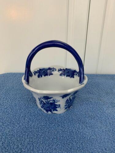 Cracker Barrel Blue & White Porcelain Basket